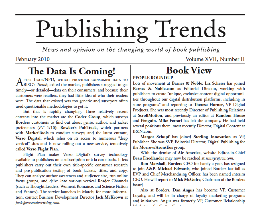 Publishing Trends on Verso Surveyy